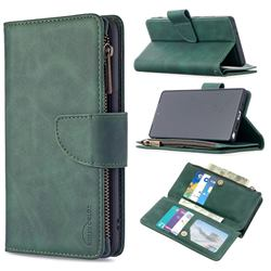 Binfen Color BF02 Sensory Buckle Zipper Multifunction Leather Phone Wallet for Samsung Galaxy Note 20 - Dark Green