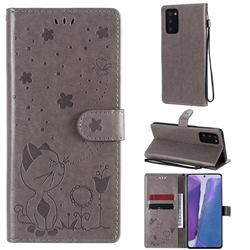 Embossing Bee and Cat Leather Wallet Case for Samsung Galaxy Note 20 - Gray