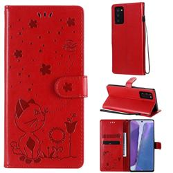 Embossing Bee and Cat Leather Wallet Case for Samsung Galaxy Note 20 - Red
