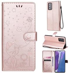 Embossing Bee and Cat Leather Wallet Case for Samsung Galaxy Note 20 - Rose Gold