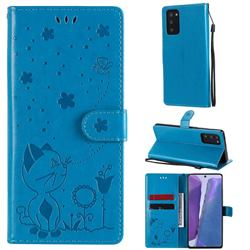 Embossing Bee and Cat Leather Wallet Case for Samsung Galaxy Note 20 - Blue