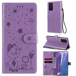 Embossing Bee and Cat Leather Wallet Case for Samsung Galaxy Note 20 - Purple