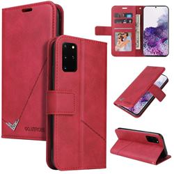 GQ.UTROBE Right Angle Silver Pendant Leather Wallet Phone Case for Samsung Galaxy Note 20 - Red