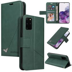 GQ.UTROBE Right Angle Silver Pendant Leather Wallet Phone Case for Samsung Galaxy Note 20 - Green