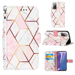 Pink White Stitching Color Marble Leather Wallet Case for Samsung Galaxy Note 20