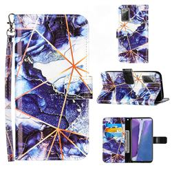 Starry Blue Stitching Color Marble Leather Wallet Case for Samsung Galaxy Note 20