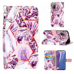 Dream Purple Stitching Color Marble Leather Wallet Case for Samsung Galaxy Note 20