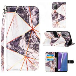 Black and White Stitching Color Marble Leather Wallet Case for Samsung Galaxy Note 20