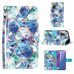 Green and Blue Stitching Color Marble Leather Wallet Case for Samsung Galaxy Note 20