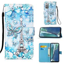 Tower Butterfly Matte Leather Wallet Phone Case for Samsung Galaxy Note 20