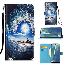 Waves and Sun Matte Leather Wallet Phone Case for Samsung Galaxy Note 20