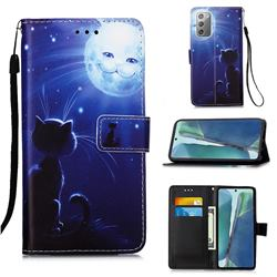Cat and Moon Matte Leather Wallet Phone Case for Samsung Galaxy Note 20