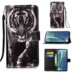 Black and White Tiger Matte Leather Wallet Phone Case for Samsung Galaxy Note 20