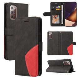 Luxury Two-color Stitching Leather Wallet Case Cover for Samsung Galaxy Note 20 - Black