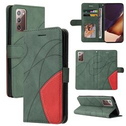 Luxury Two-color Stitching Leather Wallet Case Cover for Samsung Galaxy Note 20 - Green