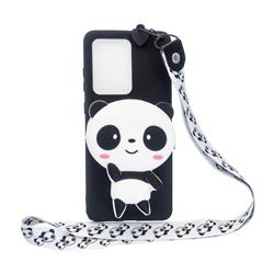 White Panda Neck Lanyard Zipper Wallet Silicone Case for Samsung Galaxy Note 20 Ultra
