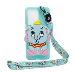 Blue Elephant Neck Lanyard Zipper Wallet Silicone Case for Samsung Galaxy Note 20 Ultra
