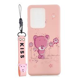 Pink Flower Bear Soft Kiss Candy Hand Strap Silicone Case for Samsung Galaxy Note 20 Ultra