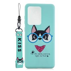 Green Glasses Dog Soft Kiss Candy Hand Strap Silicone Case for Samsung Galaxy Note 20 Ultra