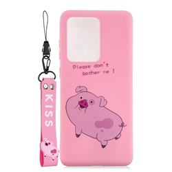 Pink Cute Pig Soft Kiss Candy Hand Strap Silicone Case for Samsung Galaxy Note 20 Ultra