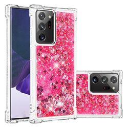 Dynamic Liquid Glitter Sand Quicksand TPU Case for Samsung Galaxy Note 20 Ultra - Pink Love Heart