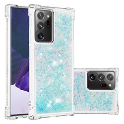 Dynamic Liquid Glitter Sand Quicksand TPU Case for Samsung Galaxy Note 20 Ultra - Silver Blue Star