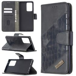 BinfenColor BF04 Color Block Stitching Crocodile Leather Case Cover for Samsung Galaxy Note 20 Ultra - Black