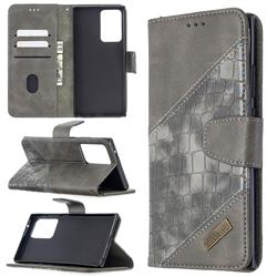 BinfenColor BF04 Color Block Stitching Crocodile Leather Case Cover for Samsung Galaxy Note 20 Ultra - Gray