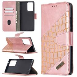 BinfenColor BF04 Color Block Stitching Crocodile Leather Case Cover for Samsung Galaxy Note 20 Ultra - Rose Gold