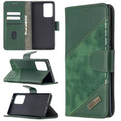 BinfenColor BF04 Color Block Stitching Crocodile Leather Case Cover for Samsung Galaxy Note 20 Ultra - Green