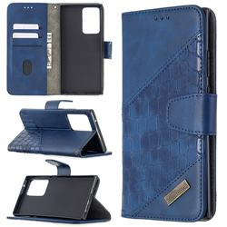 BinfenColor BF04 Color Block Stitching Crocodile Leather Case Cover for Samsung Galaxy Note 20 Ultra - Blue