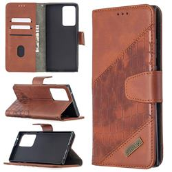 BinfenColor BF04 Color Block Stitching Crocodile Leather Case Cover for Samsung Galaxy Note 20 Ultra - Brown