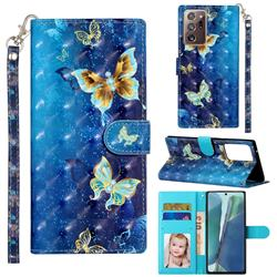 Rankine Butterfly 3D Leather Phone Holster Wallet Case for Samsung Galaxy Note 20 Ultra