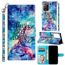 Blue Starry Sky 3D Leather Phone Holster Wallet Case for Samsung Galaxy Note 20 Ultra