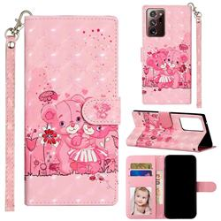 Pink Bear 3D Leather Phone Holster Wallet Case for Samsung Galaxy Note 20 Ultra