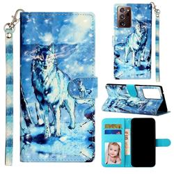 Snow Wolf 3D Leather Phone Holster Wallet Case for Samsung Galaxy Note 20 Ultra