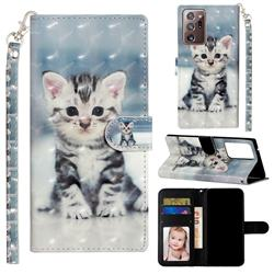 Kitten Cat 3D Leather Phone Holster Wallet Case for Samsung Galaxy Note 20 Ultra