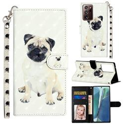 Pug Dog 3D Leather Phone Holster Wallet Case for Samsung Galaxy Note 20 Ultra