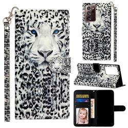 White Leopard 3D Leather Phone Holster Wallet Case for Samsung Galaxy Note 20 Ultra