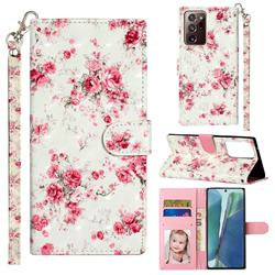 Rambler Rose Flower 3D Leather Phone Holster Wallet Case for Samsung Galaxy Note 20 Ultra