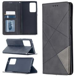Prismatic Slim Magnetic Sucking Stitching Wallet Flip Cover for Samsung Galaxy Note 20 Ultra - Black