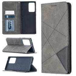 Prismatic Slim Magnetic Sucking Stitching Wallet Flip Cover for Samsung Galaxy Note 20 Ultra - Gray