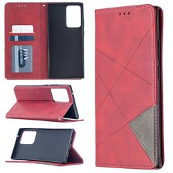 Prismatic Slim Magnetic Sucking Stitching Wallet Flip Cover for Samsung Galaxy Note 20 Ultra - Red