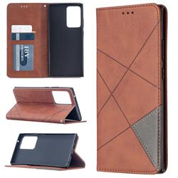 Prismatic Slim Magnetic Sucking Stitching Wallet Flip Cover for Samsung Galaxy Note 20 Ultra - Brown