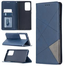 Prismatic Slim Magnetic Sucking Stitching Wallet Flip Cover for Samsung Galaxy Note 20 Ultra - Blue