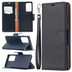 Classic Luxury Litchi Leather Phone Wallet Case for Samsung Galaxy Note 20 Ultra - Black