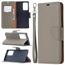Classic Luxury Litchi Leather Phone Wallet Case for Samsung Galaxy Note 20 Ultra - Gray