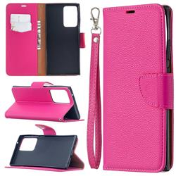 Classic Luxury Litchi Leather Phone Wallet Case for Samsung Galaxy Note 20 Ultra - Rose
