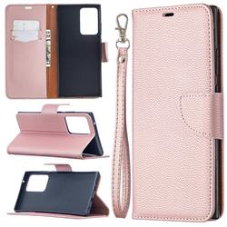 Classic Luxury Litchi Leather Phone Wallet Case for Samsung Galaxy Note 20 Ultra - Golden