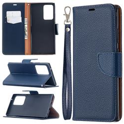Classic Luxury Litchi Leather Phone Wallet Case for Samsung Galaxy Note 20 Ultra - Blue
